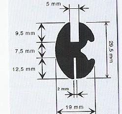 Inbouwrubber voor glas 5, carr. 2 mm ( 29 x 19 mm) Rol 25 meter