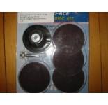 Schuurschijfset met rubber houder en 3 schijven van 75 mm. Voor